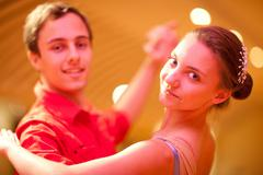 Young man and teenage girl ballroom dancers, portrait Stock Photos