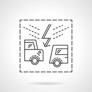 Insurance accidents flat line vector icon - stock illustration