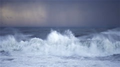 Atlantic ocean on a stormy day. Portuguese coastline Arkistovideo