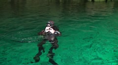cave diving in cenote - stock footage