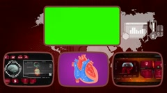 Heart - Medical Monitor - Advanced Research - World - red 02 - stock footage