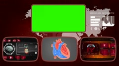 Heart - Medical Monitor - Advanced Research - World - red 03 - stock footage