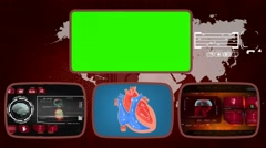 Heart - Medical Monitor - Advanced Research - World - red 01 Stock Footage