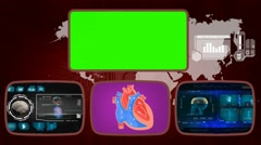 Heart - Medical Monitor - Advanced Research - World - blue 02 - stock footage