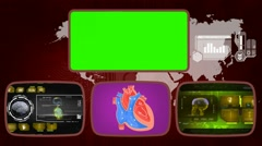 Heart - Medical Monitor - Advanced Research - World - yellow 02 - stock footage