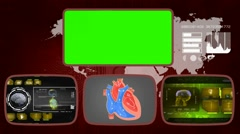 Heart - Medical Monitor - Advanced Research - World - yellow 03 - stock footage