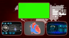 Heart - Medical Monitor - Advanced Research - World - blue 03 Stock Footage