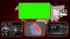 Heart - Medical Monitor - Advanced Research - World - grey 03 - stock footage