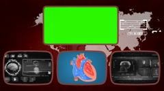 Heart - Medical Monitor - Advanced Research - World - grey 01 - stock footage