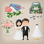Wedding set. Vector illustration - stock illustration