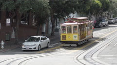 A Trolley Car takes passengers around the city of San Francisco Stock Footage