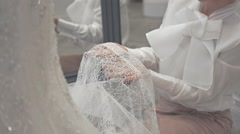Close up of the Wedding Dress Detail - stock footage