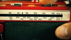 Radio AM FM tuning vintage red Stock Footage