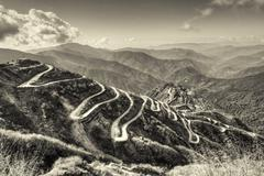 Curvy roads , Silk trading route between China and India - stock photo