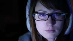 Hacker girl works at the computer Stock Footage