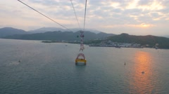 4k uhd Riding in the cabin of Vinpearl cable car over the Nha Trang bay in Stock Footage
