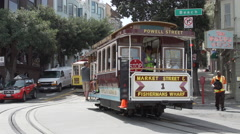 A Trolley Car loaded with passengers in San Francisco Stock Footage