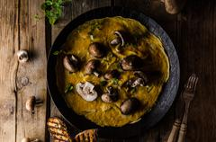Omelette with mushrooms - stock photo