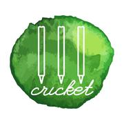 Cricket game icon on watercolor blot - stock illustration