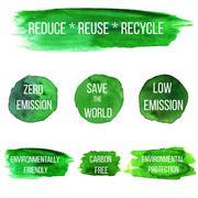 Vector environmental eco labels - stock illustration