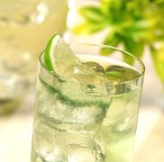 Glass of ice cold lime juice - stock photo