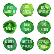 Vector natural organic badges and labels Stock Illustration