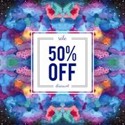 Sale sign on abstract cosmic watercolor background - stock illustration