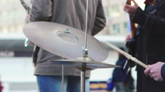 Drums in the Broad Area of Street Musician Stock Footage