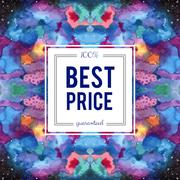Sale sign on abstract cosmic watercolor background Stock Illustration