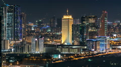 Scenic Dubai downtown skyline timelapse at night. Rooftop view of Sheikh Zayed Stock Footage