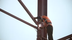 Industrial worker welding  at the construction site Stock Footage