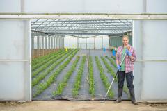 Farm worker standing outside polytunnel on herb farm, portrait - stock photo