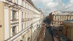 RUSSIA ST.PETERBURG- 22 APRIL: aerial view of road workers laid asphalt in the Stock Footage