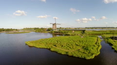 Aerial view of Windmill from Holland the Netherlands by drone Stock Footage