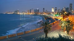 Tel Aviv, Israel. After sunset view from Jaffa. Time lapse. UHD, 4K Stock Footage