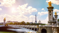View of Eiffel Tower and Alexander III Bridge. Paris, France. Timelapse Stock Footage