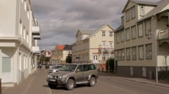 Akureyri, Iceland -  typical street in icelandic town Stock Footage