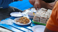 Making a traditional vietnamese food - banh cuon. Closeup view of hands Stock Footage