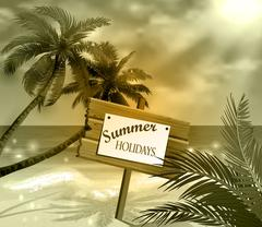 Wooden signboard on idealistic tropical beach Stock Illustration