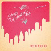 Valentine card city landscape with skyscrapers silhouette Stock Illustration