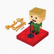 Stand up comedy isometric block cartoon Piirros
