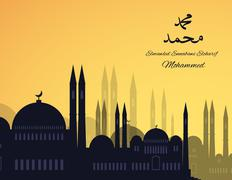 Mosques silhouette on sunset sky background - stock illustration