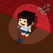 stand up comedy isometric block cartoon - stock illustration