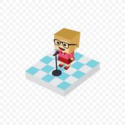 Stand up comedy isometric block cartoon Stock Illustration