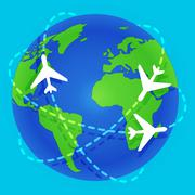 Plane flying around planet Earth - stock illustration