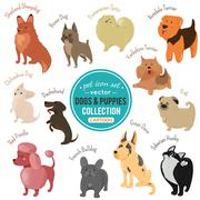 dogs and puppies depicting different fur color and breeds - stock illustration