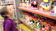 Little girl in toys department store 2, Model Release - stock footage
