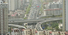 4k timelapse urban busy traffic jams on the overpass,QingDao,china.air pollutio Stock Footage