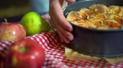 Fresh apples and freshly baked apple cake. Baked cake Stock Footage