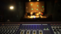 Stage ambient on a concert. Audio technician. Stock Footage
